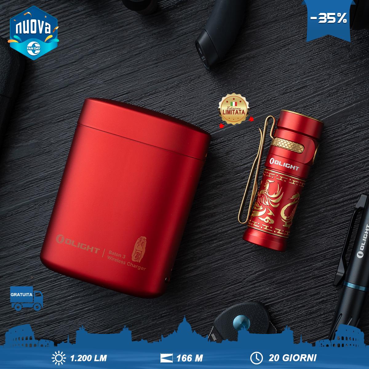 Olight Baton 3 Edizione Premium Torcia EDC Ricaricabile Drago&Fenice