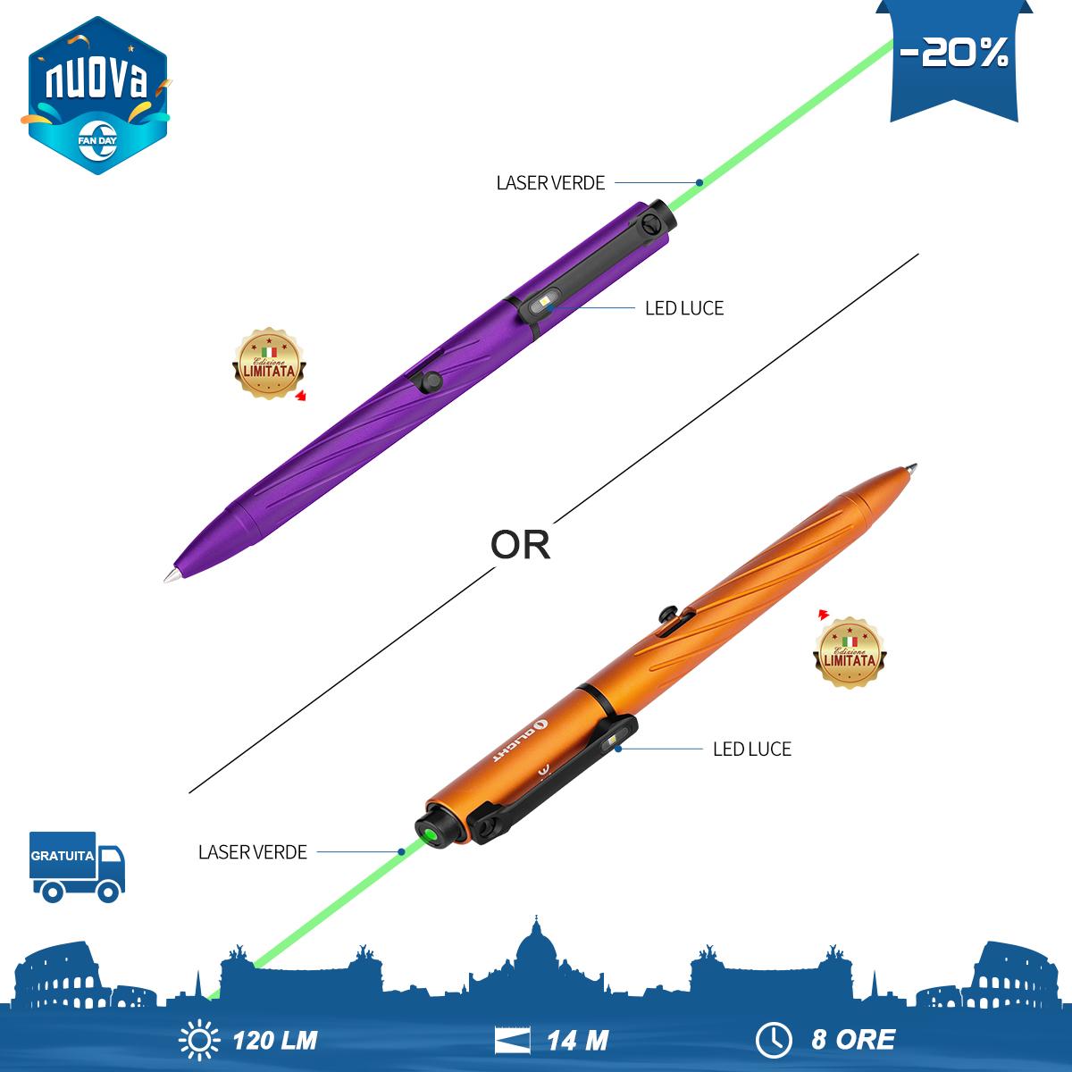 OPen Pro EDC Penna Luminosa Viola o Arancione